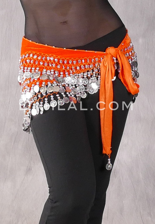 Orange Velvet Straight Coin Hip Scarf with Silver Coins