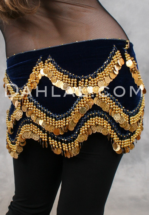 Turkish Velvet Coin Scarf for Belly Dance