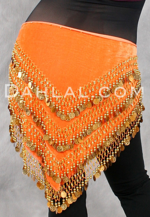Multi-Row Velvet Coin Scarf for Belly Dance