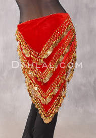 Red and Gold Turkish Velvet Hip Scarf