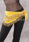 Yellow Velvet Gold and Silver Beaded Hip Scarf