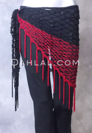 Red and Black Sequined Crocheted Shawl