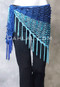 Royal Blue and Turquoise Sequined Crocheted Shawl