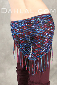 Multi Color Sequin Crocheted Shawl, for Belly Dance