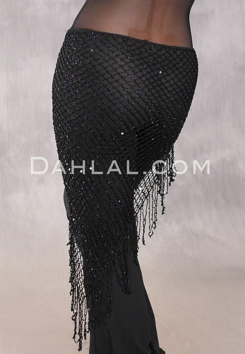Sequin Beaded Crocheted Scarf - Black with Black