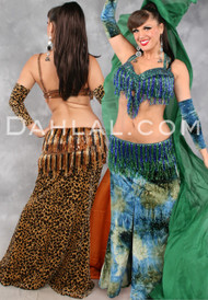 ZAHRA Velvet Skirt & Sleeve Set, for Belly Dancing, by Off the Nile