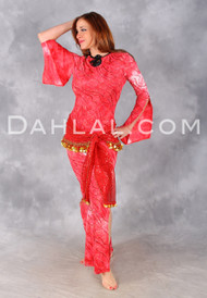 Red Streamers & Confetti Saidi Belly dance dress