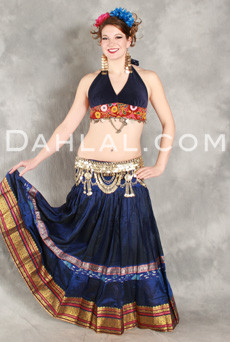 GYPSY SKIRT OF VINTAGE SARI FABRIC, for Belly Dancing image