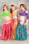 MULTI-COLORED, PRINTED CHIFFON HANDKERCHIEF SKIRTS WITH SMOCKED HIPS, for Belly Dance