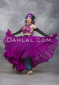 VERSATILE TRIBAL ESSENTIALS SOLID COLOR FOUR TIERED SKIRT, for Belly Dance