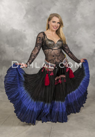 Dip dyed Black and Royal Blue Tribal Gypsy Skirt