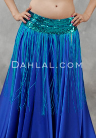 FRINGE SKIRT with STRETCH SEQUIN BAND, for Dance- 5 Colors Available