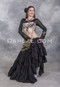 Black Extra Full Tiered Tribal Skirt