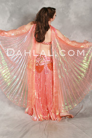 Egyptian PLEATED SKIRT & WINGS SET in Coral, by Pharaonics of Egypt, for Belly Dancing