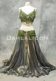 DOUBLE LAYER PLEATED SATIN CHIFFON SKIRT, for Belly Dance