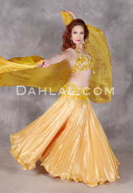 Yellow Satin Pleated Chiffon Skirt in Motion