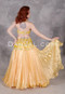 Yellow Satin Pleated Chiffon Skirt