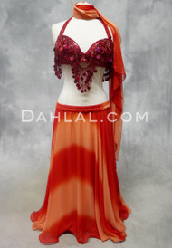 DOUBLE CHIFFON GRADIENT SKIRT WITH MATCHING VEIL in Red, for Belly Dance