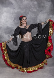 Black, Red and Gold Extra Full Gypsy Skirt