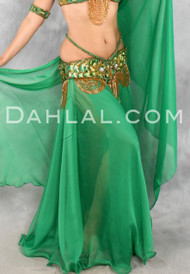 Double Chiffon Circle Skirt, with No Slits, and Matching Veil, for Belly Dance