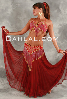 DOUBLE CHIFFON PLEATED SKIRT WITH RUFFLED HEM, for Belly Dance image