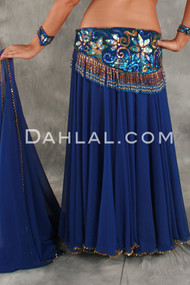 Double Chiffon Circle Skirt, with Two Slits, Beaded Hem & Matching Veil, for Belly Dance