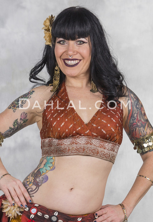 Vintage Brocade Halter for tribal belly dance