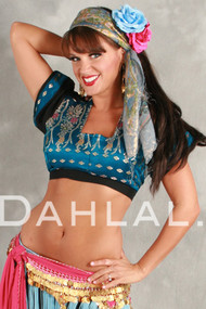 Short Sleeve Brocade Choli Top - Light Blue, Pink and Black - Size Large
