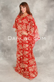 Sequin Caftan in Red with Gold from Egypt