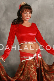 Egyptian Long Sleeve Velvet Coin Top, for Belly Dance image