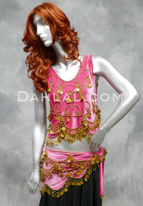 Hot Pink Egyptian belly dance costume