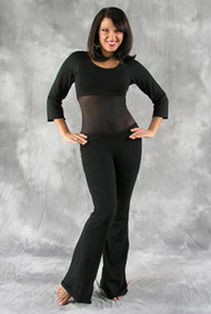 Full Length View of Black Cotton Lycra Belly Dance Unitard