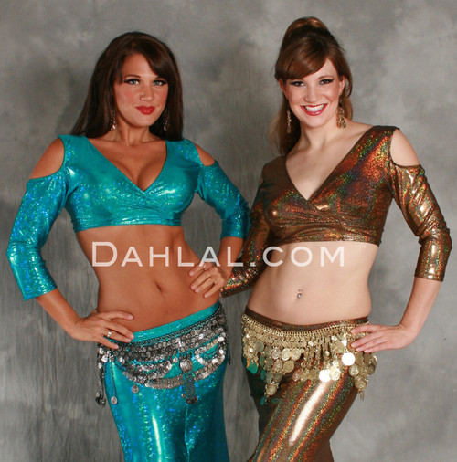 AKHET Holographic Lycra Mock Wrap Top by Off The Nile image