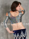 akhet holographic lycra mock wrap top rear view woman wearing silver color