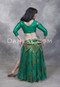 rear view of green akhet holographic lycra mock wrap top