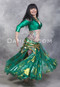side view of green akhet holographic lycra mock wrap top