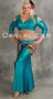 woman wearing akhet holographic lycra mock wrap top in teal
