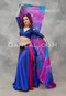 woman waving scarves and wearing akhet holographic lycra mock wrap top in blue