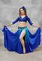 woman in a blue akhet holographic lycra mock wrap top posing