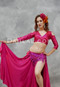 woman in pink akhet holographic lycra mock wrap top