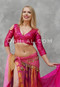 woman wearing akhet holographic lycra mock wrap top in pink