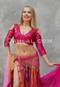 woman wearing akhet holographic lycra mock wrap top in pink