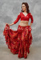 woman in red belly dancing costume with a akhet holographic lycra mock wrap top