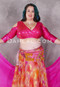 pink akhet holographic lycra mock wrap top on a woman