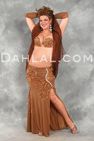DESERT DARLING in Caramel with Gold by Designer Eman Zaki, Egyptian belly Dance Costume