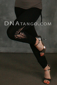 Black Stretch Full Length Legging with Lacing Detail