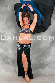 STARRY TWILIGHT in Black, Teal and Blue by Rising Stars, Egyptian Belly Dance Costume