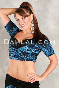 KIYA Cap Sleeved Wrap Top in Blue Burnout Velvet by Off the Nile