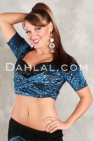 KIYA Cap Sleeved Wrap Top in Blue Burnout Velvet by Off the Nile