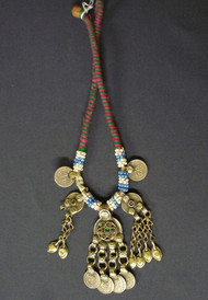 Tribal Belly Dance Necklace of Assorted Vintage Afghani Kuchi Beads, Pendants, and Coins, option 2